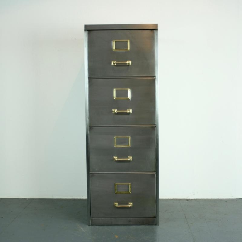 Vintage Polished Steel 4 Drawer Filing Cabinet