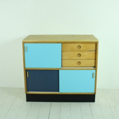 1960s Kandya Kitchen Cabinet Sideboard In Blue Lovely