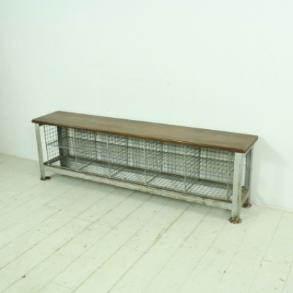 Vintage industrial wire mesh and wooden shoe rack - Lovely and Company