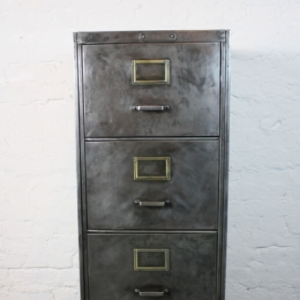 Mid century polished steel filing cabinet made by Milner with ...