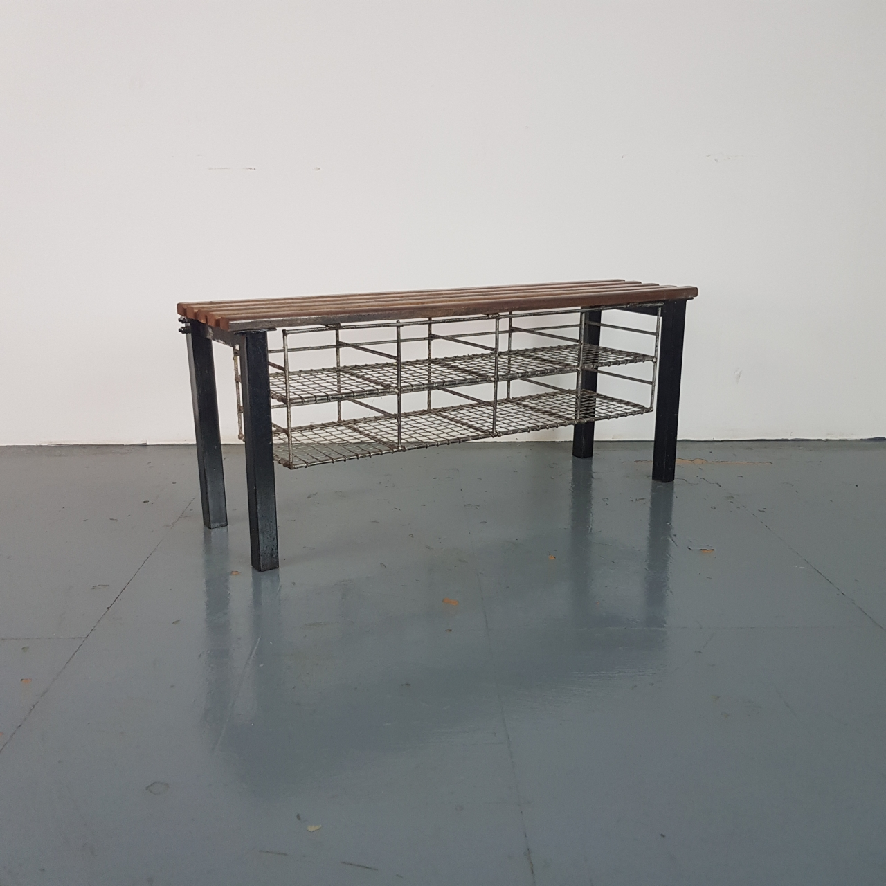Vintage Industrial Wire Mesh And Wooden Shoe Rack Bench Lovely And Company