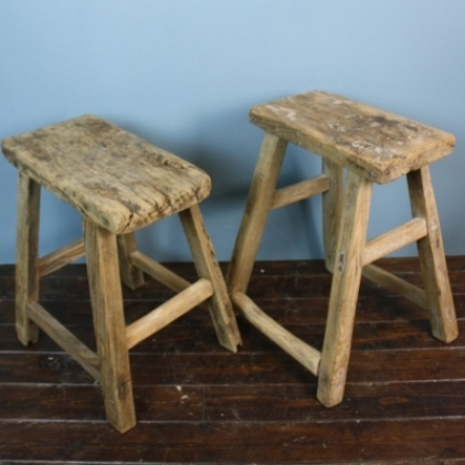 Zoom Pair of rustic wooden stools p12 & Pair of rustic wooden stools p12 - Lovely and Company islam-shia.org