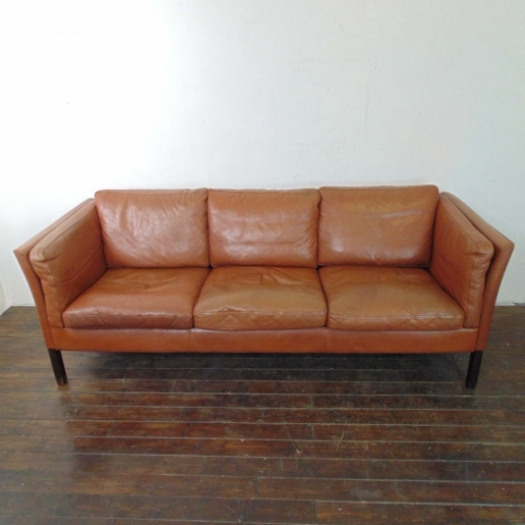 Mogensen style 3 seater light brown leather sofa lovely for Sofas precio fabrica
