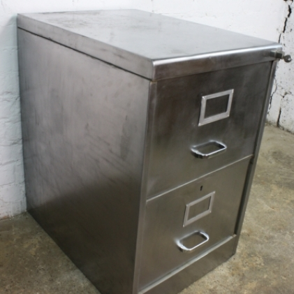 2 drawer stripped steel filing cabinet - Lovely and Company