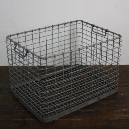 Vintage industrial galvanized large metal crate lovely for Metal shipping crate