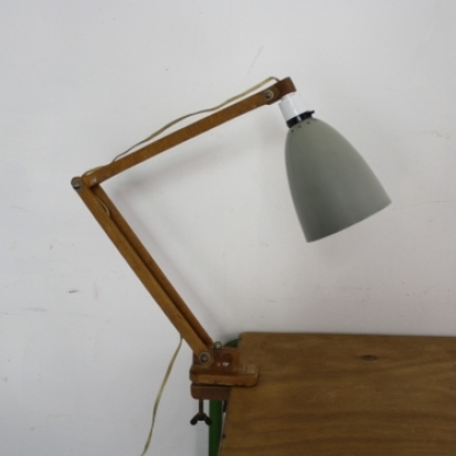 Vintage Klamplight Desk Lamp On Clamp In Grey With Wooden Arms