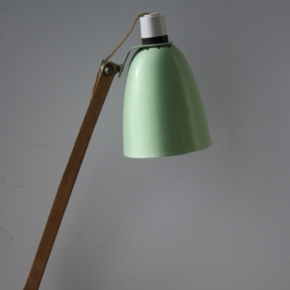 Vintage Maclamp in pastel green with wooden arm