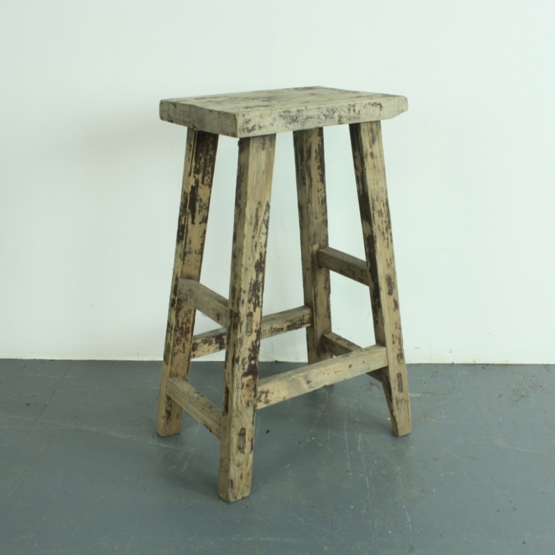 Rustic tall wooden bar stool l lovely and company