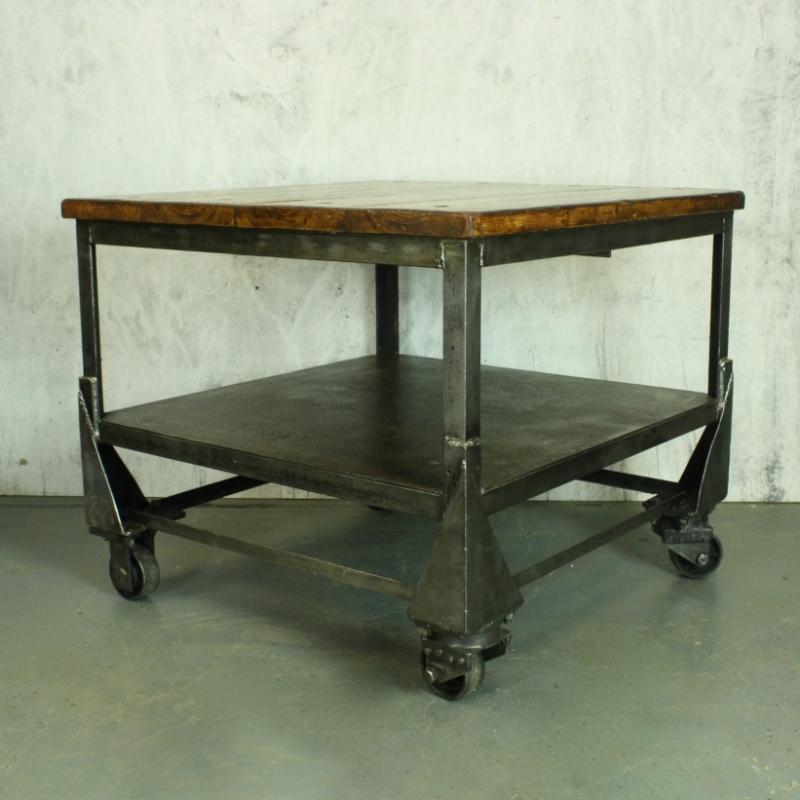 Large Vintage Industrial Trolley / Coffee Table