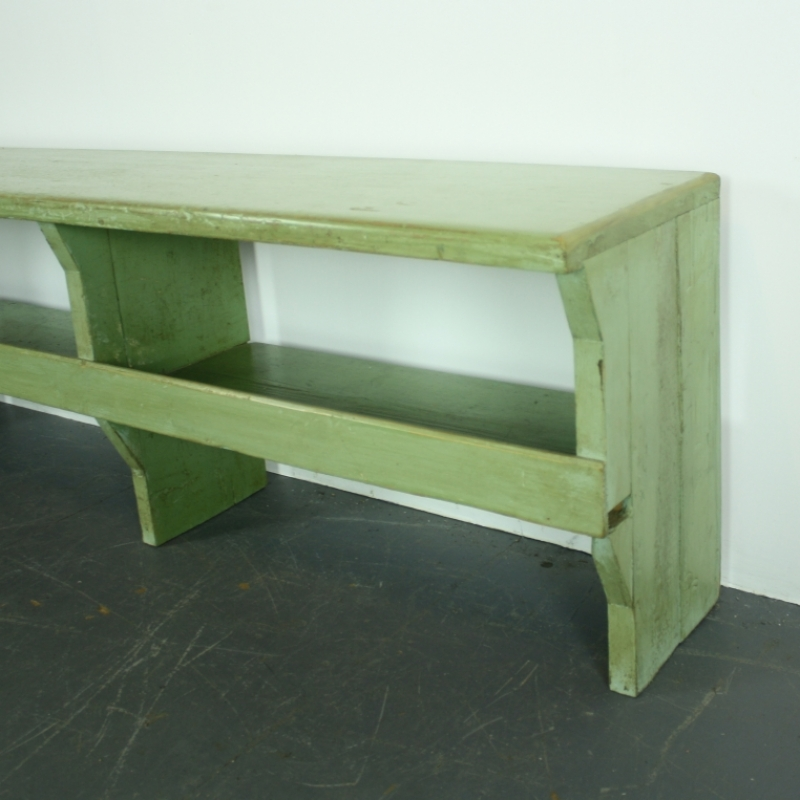 Vintage Industrial Green Painted Wooden Cloakroom Bench Lovely And Company