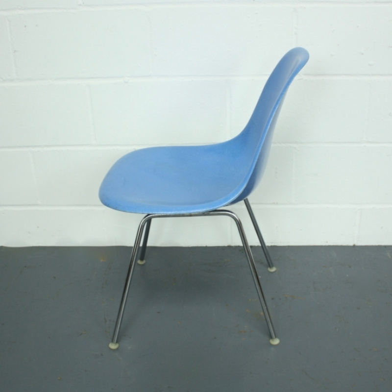 Eames Herman Miller DSW side chair in blue with H base - Lovely and Company