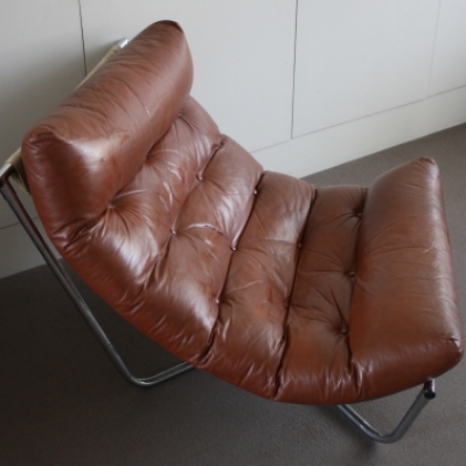 Chrome And Leather Sling Chair By Peter Hoyte Lovely And