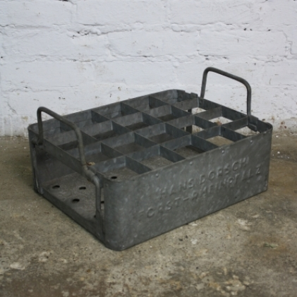 Vintage industrial galvanized metal milk crate with handles