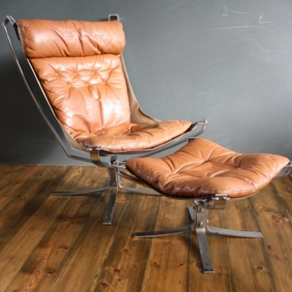 Vintage Brown Leather Chrome Framed Falcon Chair And