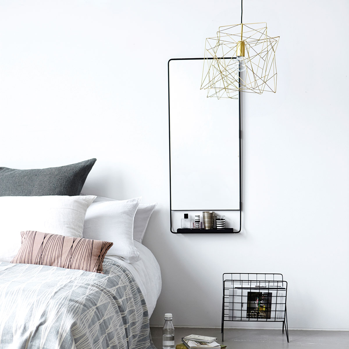 House Doctor vertical Chic black framed mirror with shelf - Lovely ...