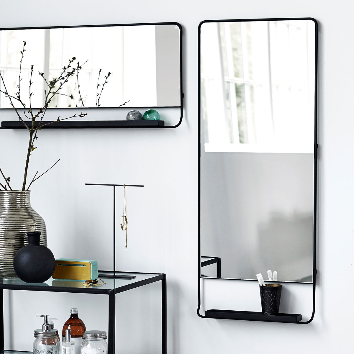 House Doctor horizontal Chic black framed mirror with shelf - Lovely ...