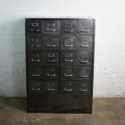 Zoom Vintage Art Metal 20 Drawer Filing Cabinet