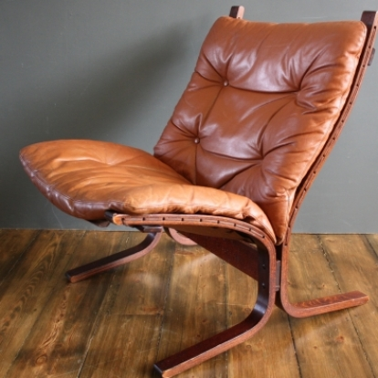 60s Leather Siesta Chair Designed By Ingmar Relling For