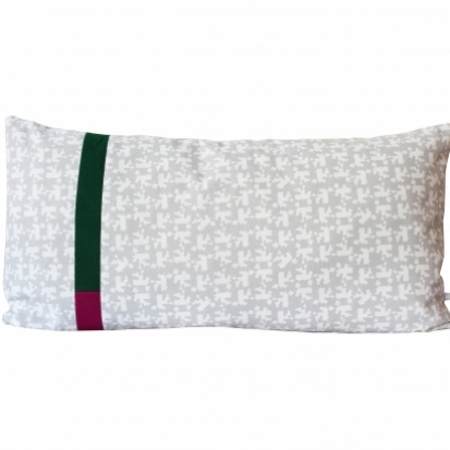 Grey patchwork cushion by Tas-ka