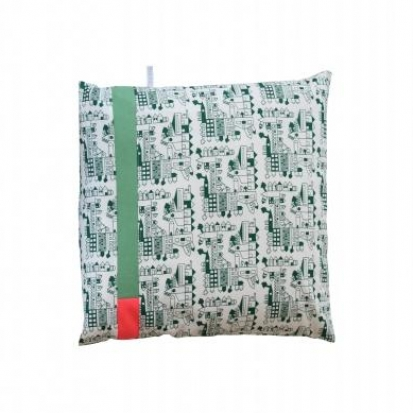 Green patchwork cushion by Tas-ka