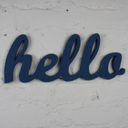 Recycled wooden HELLO sign in blue ITALICS